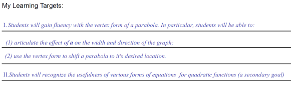 learning targets for parabola slalom